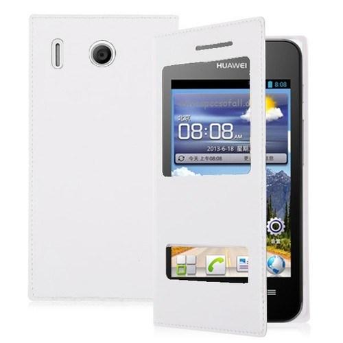 Teleplus Huawei Ascend Y320 Çift Pencereli Uyku Modlu Kılıf Beyaz