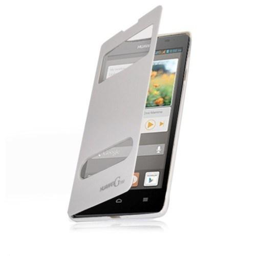 Teleplus Huawei Ascend G700 Çift Pencereli Uyku Modlu Kılıf Beyaz