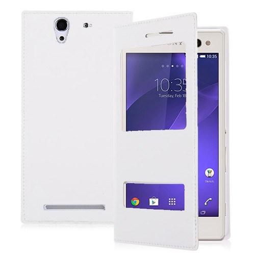 Teleplus Sony Xperia C3 Çift Pencereli Kılıf Beyaz