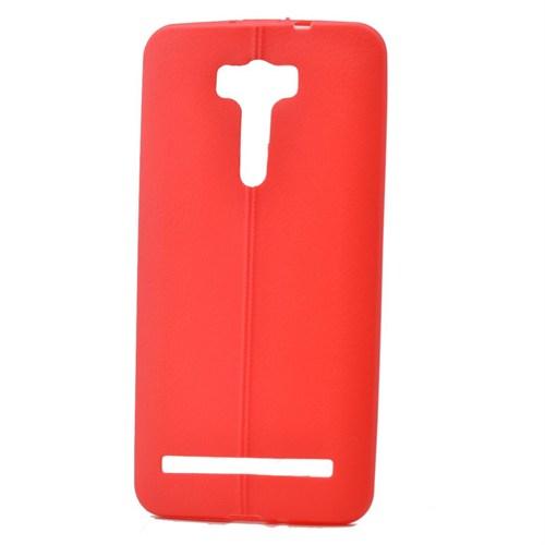 Teleplus Asus Zenfone 2 Laser 6 İnç Deri Görünümlü Silikon Kılıf Kırmızı