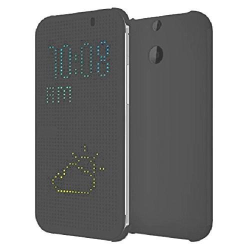 Teleplus Htc One E8 Dot Pencereli Uyku Modlu Kılıf Gri