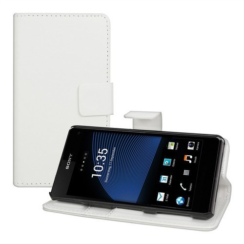 Teleplus Sony Xperia Z1 Mini Cüzdanlı Stanlı Kılıf Beyaz