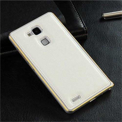 Teleplus Huawei Ascend Mate 7 Derili Metal Çerçeveli Kılıf Beyaz