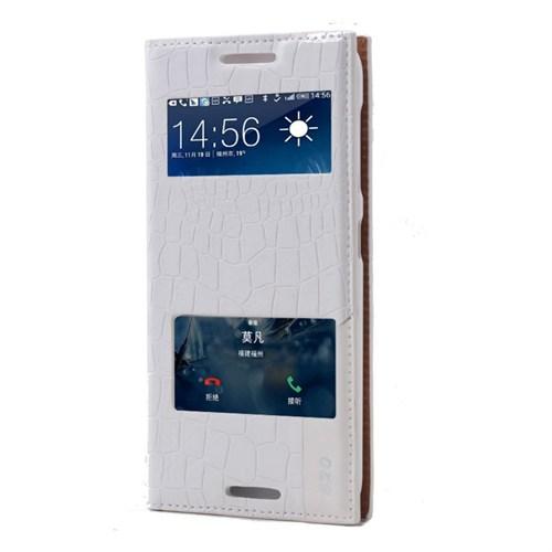 Teleplus Htc Desire 620 Benekli Çift Pencereli Kılıf Beyaz