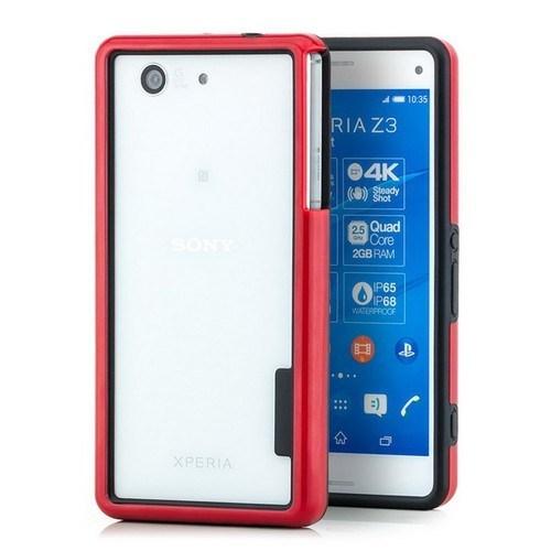 Teleplus Sony Xperia Z3 Mini Çerçeve Bumper Yüksek Korumalı Kılıf Kırmızı
