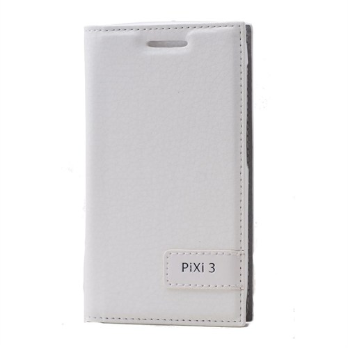 Alcatel Pixi 3 Lüx Flip Cover Kılıf Beyaz