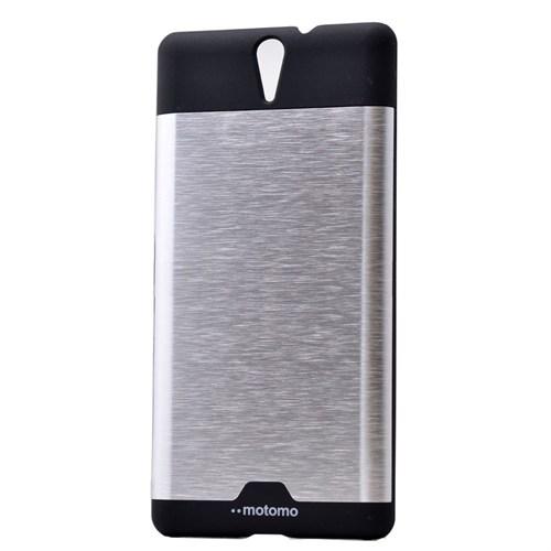 Teleplus Sony Xperia C5 Ultra Metal Kapak Tam Korumalı Gri
