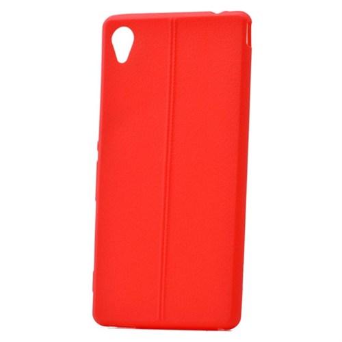 Teleplus Sony Xperia M4 Deri Görünümlü Silikon Kılıf Kırmızı