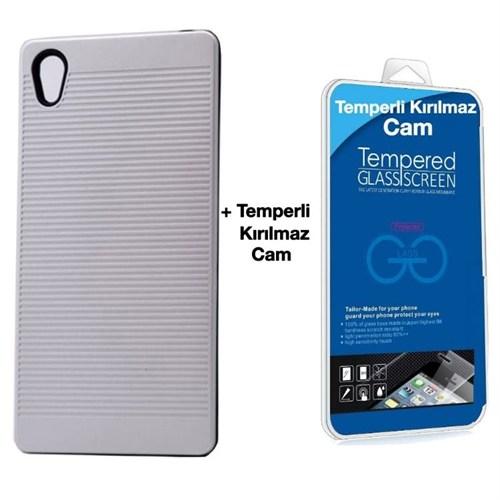 Teleplus Sony Xperia Z5 Çift Katmanlı Kılıf Gümüş + Temperli Kırılmaz Cam