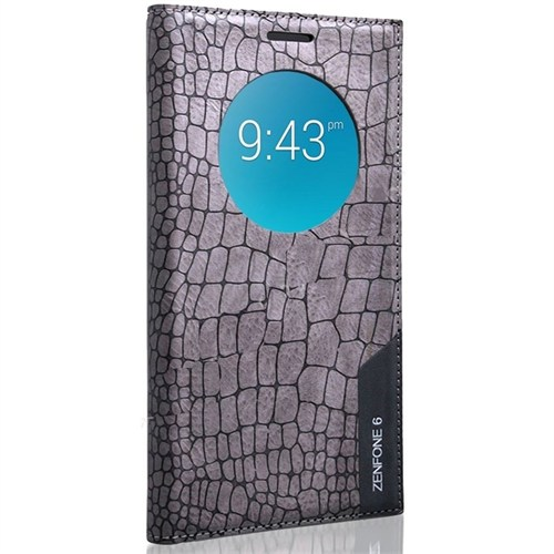 Teleplus Asus Zenfone 6 Pencereli Benekli Kılıf Gri