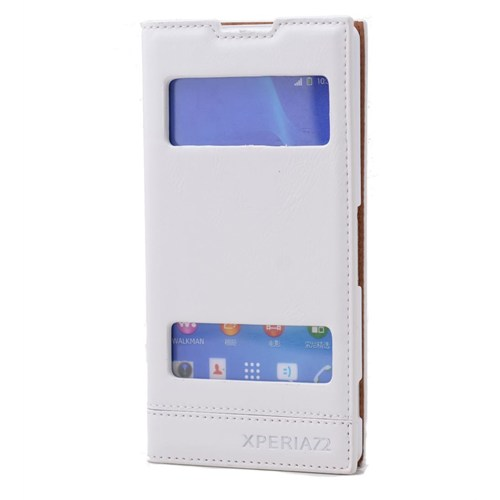 Teleplus Sony Xperia Z2 Lüx Çift Pencereli Kılıf Beyaz