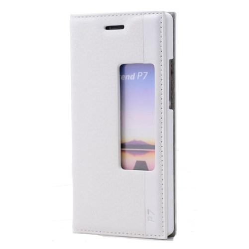 Teleplus Huawei Ascend P7 Pencereli Magnum Serisi Kılıf Beyaz