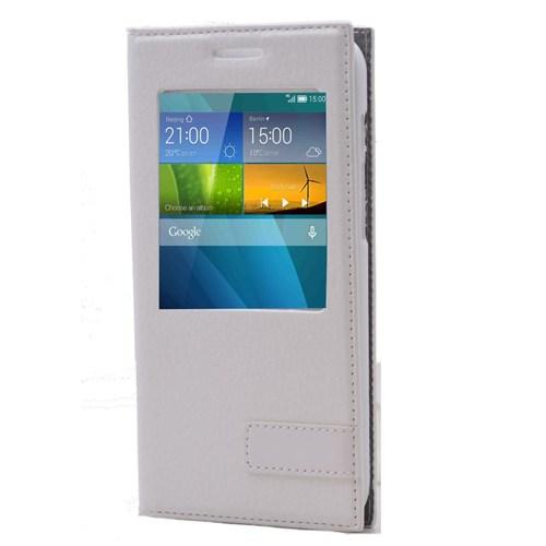 Teleplus Huawei Ascend G7 Pencereli Safir Kılıf Beyaz