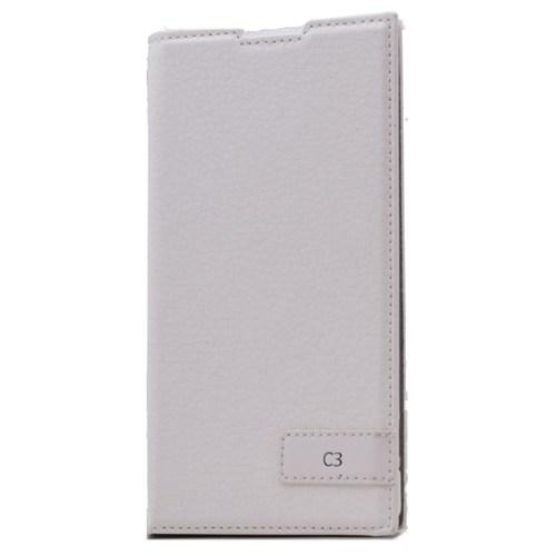 Teleplus Sony Xperia C3 Flip Cover Kılıf Beyaz