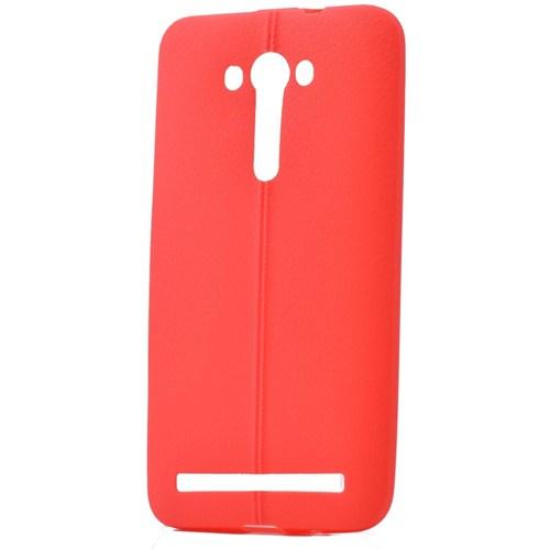 Teleplus Asus Zenfone 2 Laser 5.5 İnç Deri Görünümlü Silikon Kılıf Kırmızı