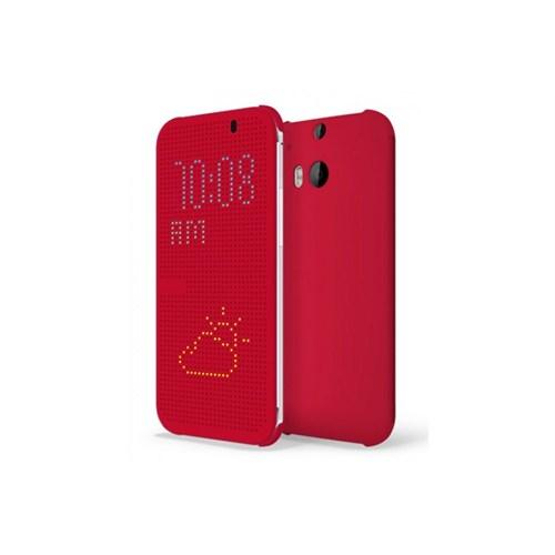Teleplus Htc One M8 Dot View Uyku Modlu Kılıf Kırmızı