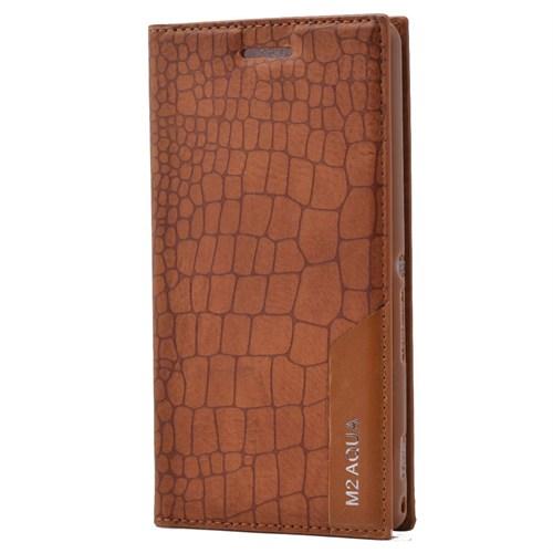 Teleplus Sony Xperia M2 Aqua Flip Cover Kılıf Açık Kahverengi