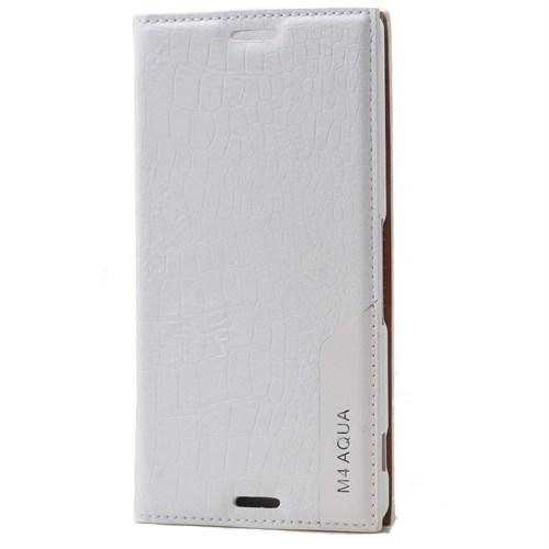 Teleplus Sony Xperia M4 Aqua Benekli Flip Cover Kılıf Beyaz