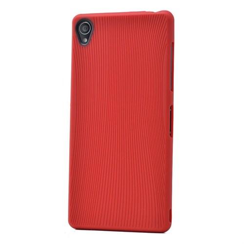 Teleplus Sony Xperia Z3 Çizgili Silikon Kılıf Kırmızı