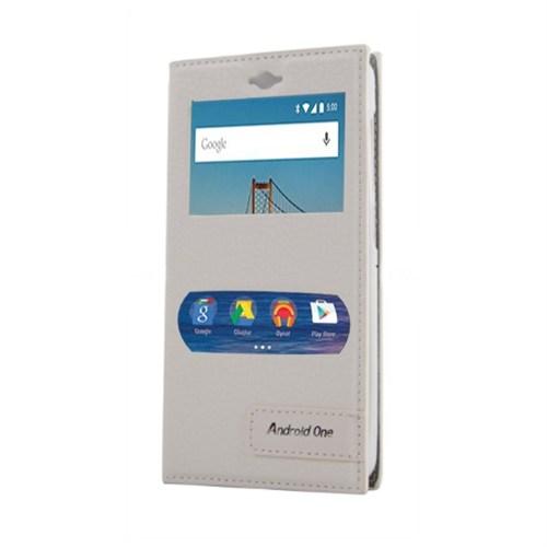 Android One Çitf Pencereli Mıknatıslı Kılıf Beyaz