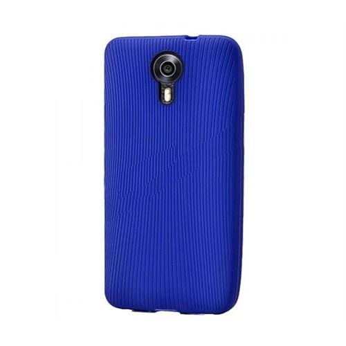 Android One 4G Çizgili Silikon Kılıf Mavi