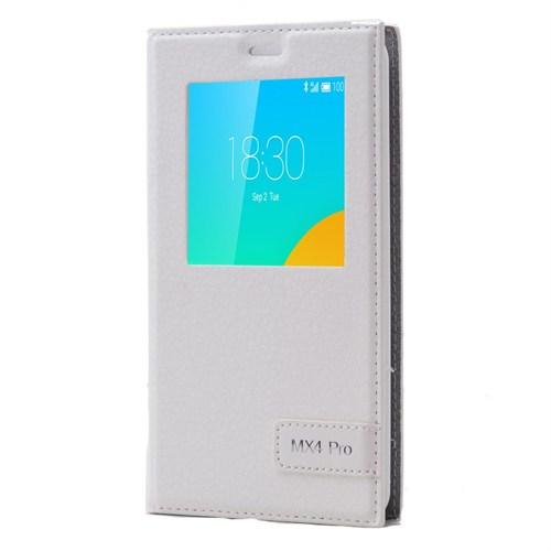 Teleplus Meizu Mx4 Pro Mıknatıslı Pencereli Kılıf Beyaz