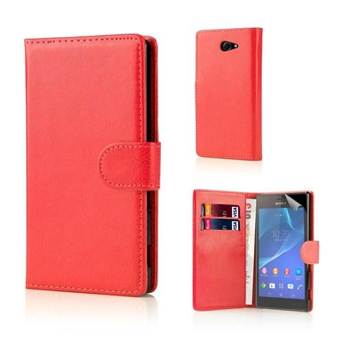 Teleplus Sony Xperia M2 Cüzdanlı Kılıf Kırmızı