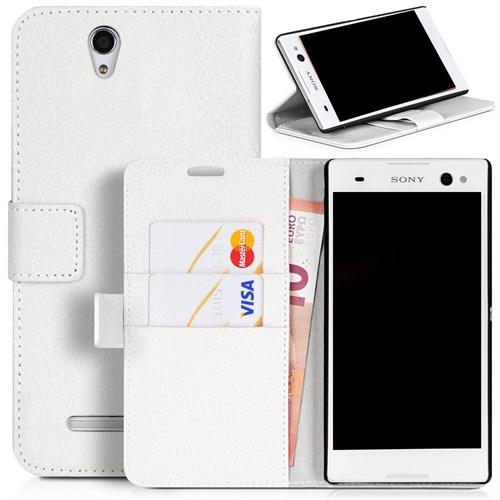 Teleplus Sony Xperia C3 Cüzdanlı Kılıf Beyaz