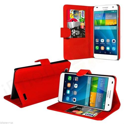 Teleplus Huawei Ascend G7 Cüzdanlı Kılıf Kırmızı
