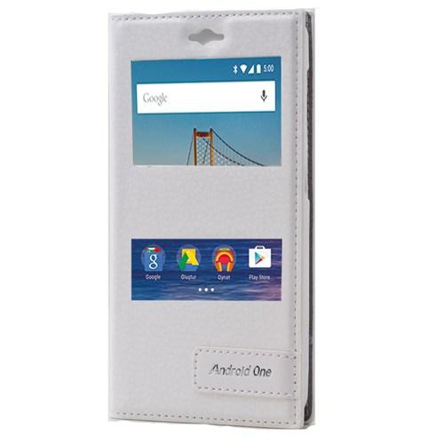 Android One 4G Mıknatıslı Çitf Pencereli Kılıf Beyaz