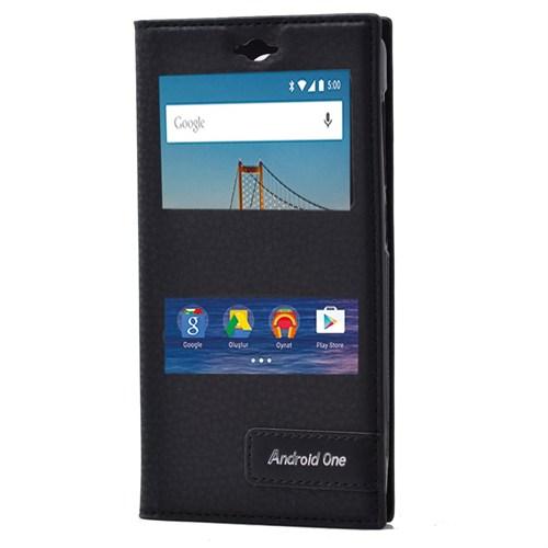 Android One 4G Mıknatıslı Çitf Pencereli Kılıf Siyah