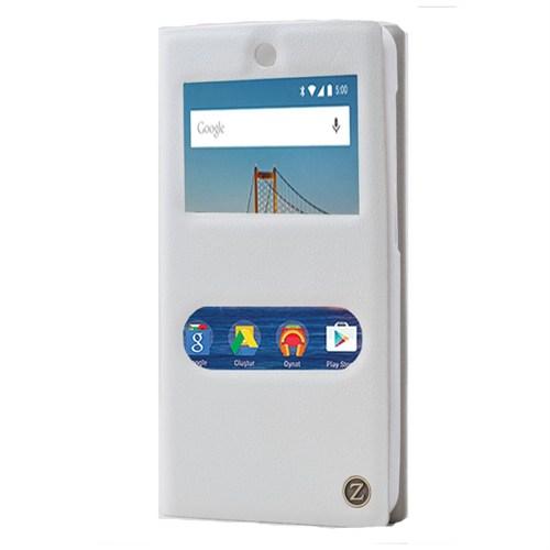 Android One 4G Özel Çift Pencereli Kılıf Beyaz