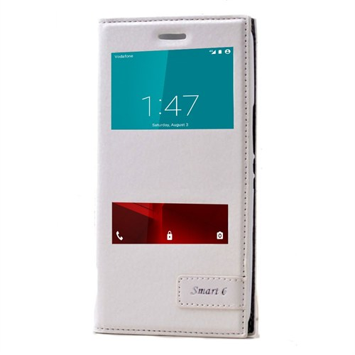 Teleplus Vodafone Smart 6 Özel Çift Pencereli Kılıf Beyaz