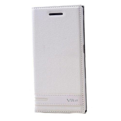 Teleplus Casper Via V9 Mıknatıslı Flip Cover Kılıf Kapak Beyaz