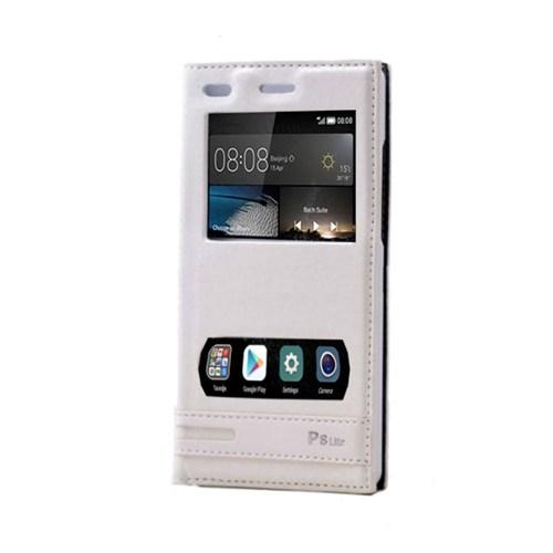 Teleplus Huawei P8 Lite Mıknatıslı Çift Pencereli Kılıf Beyaz