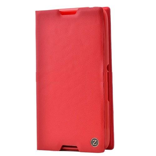 Teleplus Sony Xperia E4 Mıknatıslı Flip Cover Kılıf Kırmızı