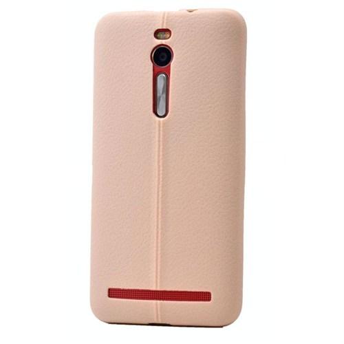 Teleplus Asus Zenfone 2 Deri Görünümlü Silikon Kılıf Krem