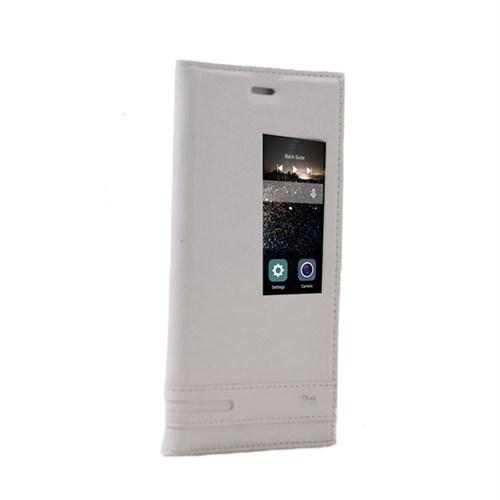 Teleplus Huawei P8 Mıknatıslı Pencereli Kılıf Beyaz