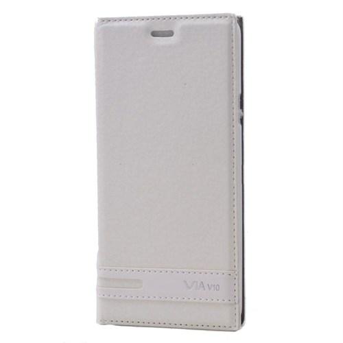 Teleplus Casper Via V10 Mıknatıslı Flip Cover Kılıf Kapak Beyaz