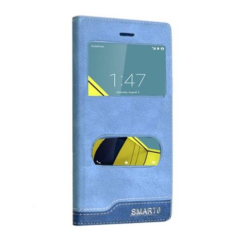 Teleplus Vodafone Smart 6 Çift Pencereli Kılıf Mavi