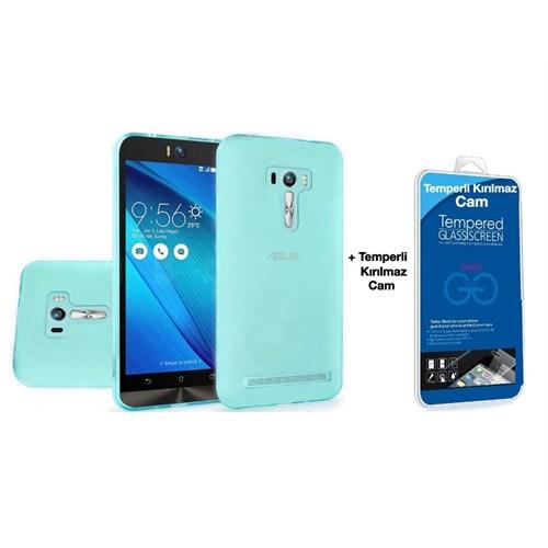 Teleplus Asus Zenfone 2 Laser Ze550kl Silikon Kılıf 5.5İnç Mavi + Kırılmaz Cam