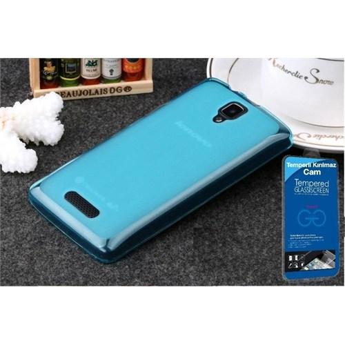 Teleplus Lenovo A1000 Silikon Kılıf Mavi + Temperli Kırılmaz Cam