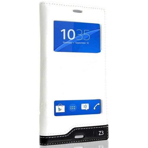 Teleplus Sony Xperia Z3 Çift Pencereli Lüx Kılıf Beyaz