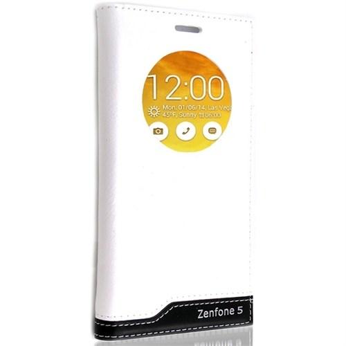 Teleplus Asus Zenfone 5 Pencereli Uyku Modlu Lüx Kılıf Beyaz