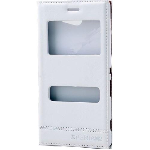 Teleplus Sony Xperia M2 Çift Pencereli Uyku Modlu Lüx Kılıf Beyaz