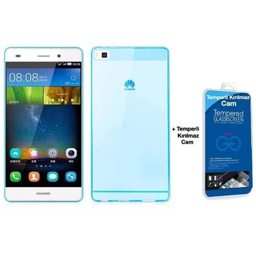 Teleplus Huawei Ascend P8 Silikon Kılıf Mavi + Kırılmaz Cam