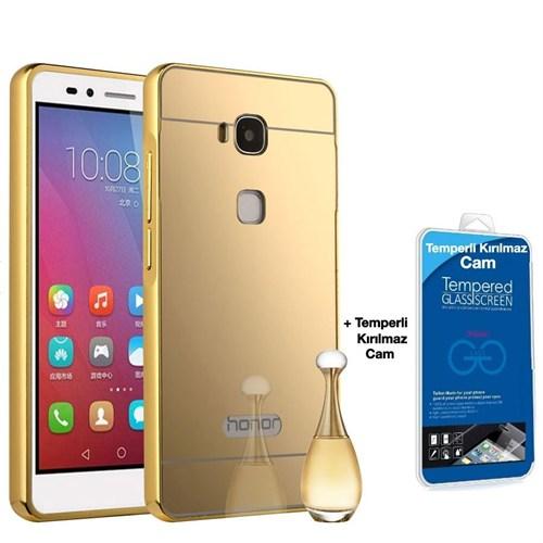 Teleplus Huawei Gr5 Aynalı Kılıf Kapak Gold + Kırılmaz Cam