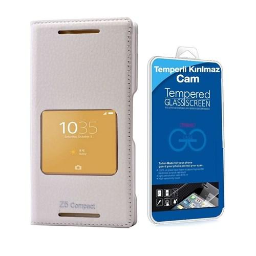 Teleplus Sony Xperia Z5 Compact Mini Pencereli Kılıf Beyaz + Temperli Kırılmaz Cam