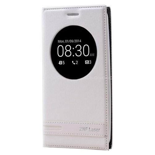 Teleplus Asus Zenfone 2 Laser 5.5 İnç Uyku Modlu Pencereli Kılıf Beyaz
