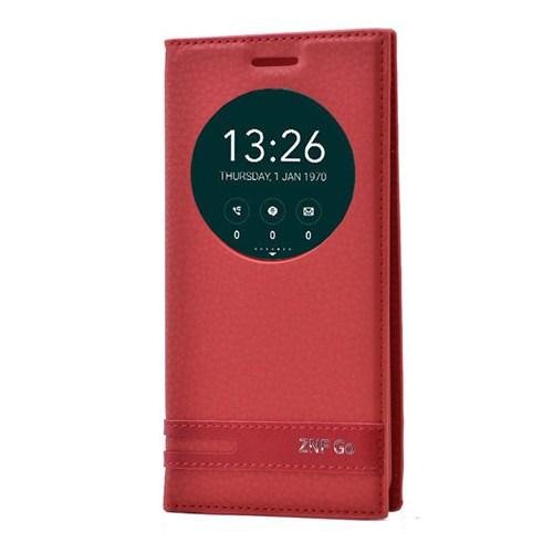 Teleplus Asus Zenfone Go Lüx Pencereli Özel Kılıf Kırmızı